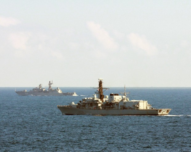 A Royal Navy warship has tracked a Russian frigate off the coast of France and monitored her movement through the English Channel. HMS Argyll, a Type 23 frigate fitted with advanced Artisan radar, used her Lynx helicopter and sensors to locate and monitor the movement of the Russian warship as she returned from a Mediterranean deployment. [Picture: Crown copyright]