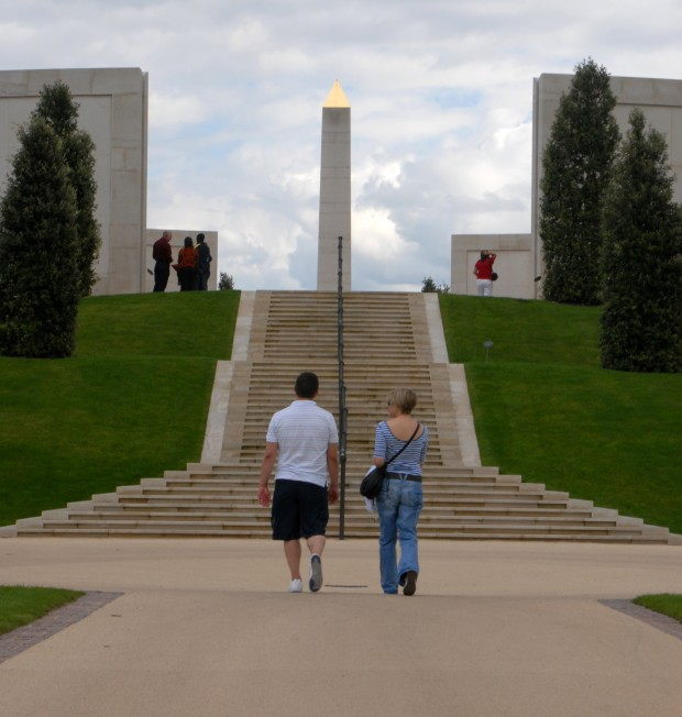 The Armed Forces Memorial within the National Memorial Arboretum at Arelwas, Staffordshire. The National Memorial Arboretum, supported by The Royal British Legion, honours the fallen, recognises sacrifice and fosters pride in the country.