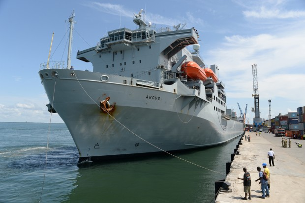 The Royal Fleet Auxiliary aviation support ship RFA Argus arrived in Sierra Leone in October 2014, offloading vital equipment and stores that will aid their government's fight against Ebola.