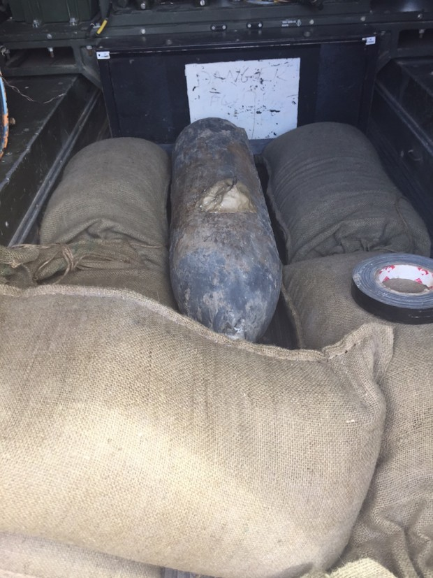 Wembley WW2 bomb being transported to an undisclosed location for safe detonation