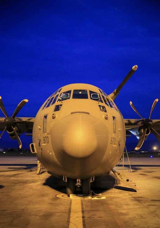 An RAF Hercules C-130 aircraft carrying Aid arrives at Kathmundu International Airport in Nepal. The aid brought in tonight was 9 tonnes of high energy biscuits from the World Food Program  Commissioned by the Department for International Development.The flight was carrying vital UK Government aid stocks to Nepal, including shelter kits and solar lanterns.  Images By Sgt Neil Bryden RAF