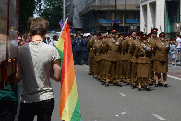 The Army contingent prepare to march through London during the London Community Pride parade. Armed Forces March in London Pride 270615 The Armed Forces marched through the streets of London today on Armed Forces Day as part of the London Community Pride parade. Prior to the event participants met with the Minister of the Armed Forces Penny Mordaunt MP and the Minister for Equalities Incumbent Caroline Dinenage MP as well as a number of Senior Military Officers at the Hyatt Regency Hotel in London. Image taken by LA(Phot) Simmo Simpson, FRPU(E), Royal Navy. Consent forms where required held by FRPU(E), HMS Excellent.