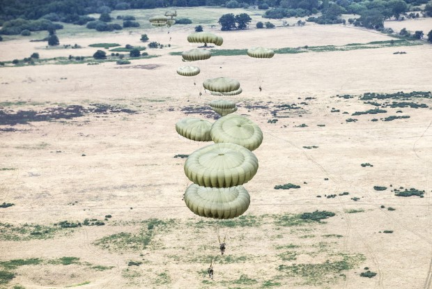 2 Squadron RAF Regiment and their Indian counterparts exit a RAF C130 aircraft over Stanta Range as part of Exercise Indra Dhanush 15