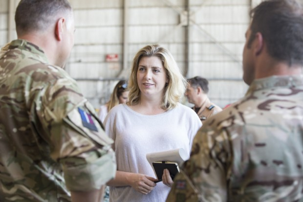 Penny Mordaunt at RAF Akrotiri, Cyprus, meets RAF personnel helping to tackle the ISIL threat