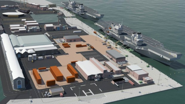 Work to rebuild a jetty at Portsmouth Naval Base to house the Royal Navy's new 65,000-tonne aircraft carriers is underway. VolkerStevin has been awarded a contract to reconstruct Middle Slip Jetty so it can accommodate HMS Queen Elizabeth and HMS Prince of Wales – the biggest ships ever built for the Royal Navy. The current phase of work involves inspecting the underside of the jetty to check for corrosion. Scaffolding has been installed beneath the structure to enable the work to be carried out. The work, expected to be completed in autumn 2016, forms part of a £100m infrastructure package to prepare the base for the arrival of the first carrier. FX150231