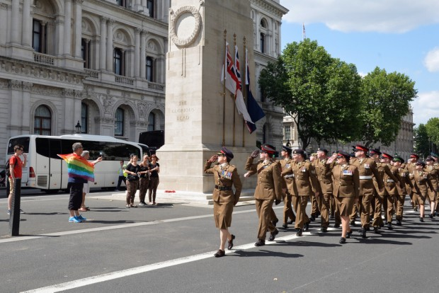 The Army contingent marches past the Cenotaph. Armed Forces March in London Pride 270615 The Armed Forces marched through the streets of London today on Armed Forces Day as part of the London Community Pride parade. Prior to the event participants met with the Minister of the Armed Forces Penny Mordaunt MP and the Minister for Equalities Incumbent Caroline Dinenage MP as well as a number of Senior Military Officers at the Hyatt Regency Hotel in London. Image taken by LA(Phot) Simmo Simpson, FRPU(E), Royal Navy. Consent forms where required held by FRPU(E), HMS Excellent.