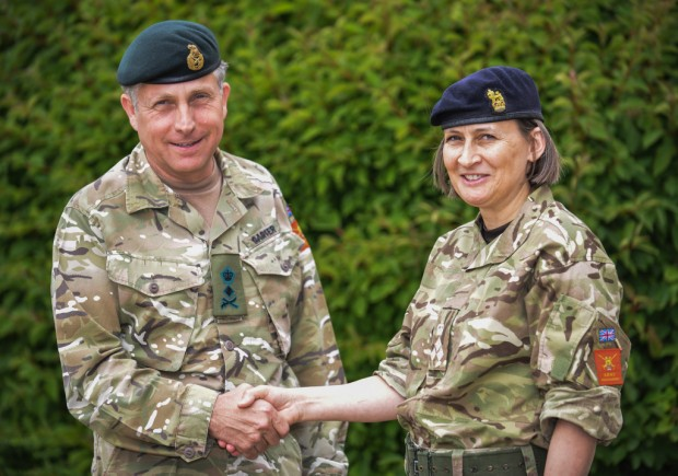 "The British Army is delighted to announce the appointment of its first ever female Major General (2-Star). In September 2015, Brigadier Susan Ridge will become Major General Susan Ridge the new Director General Army Legal Services (DGALS).  Currently working as Director Legal Advisory, Brigadier Ridge and her team provide legal advice to the chain of command on discipline and administrative law. Any day will see the team advising commanding officers on disciplinary matters through to dealing with service enquiries and service complaints.   Reflecting on the recent scrutiny of the Service Complaints System, the Brigadier said: ""My team and I have been involved in the current System of Service Complaints and is advising the Army on the new Service Complaints System, and how we can work together to make changes for the better. This will certainly provide useful background knowledge and understanding of what is being developed for my next appointment."" Pic - General Sir Nick Carter congratulates Brigadier Ridge on her new appointment."