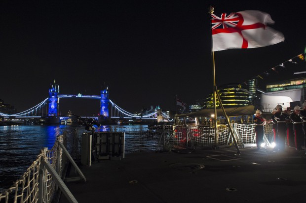 Royal Navy warship HMS Portland hosted more than 200 people from across the maritime industry for London International Shipping Week's official reception. The Type 23 frigate is berthed alongside HMS Belfast in the Thames, with Tower Bridge providing an iconic backdrop to the occasion. London International Shipping Week is an annual event which showcases the success story of British maritime industry - for example more than 503.2 million tonnes of freight were handled by UK ports in 2014. The Royal Marines Band Collingwood provided the music for the ceremonial sunset while speeches were provided by the First Sea Lord Admiral Sir George Zambellas and Secretary of State for Transport the Rt Hon Patrick McLouchlin MP.