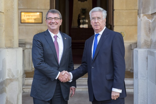 Pictured:L-R: Ashton Cater and Michael Fallon outside Lancsater House.