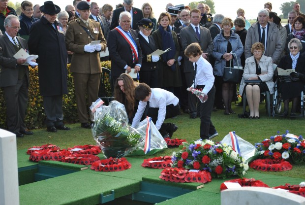 Emma Coleman- great great grandaughter and nephews pay their respects