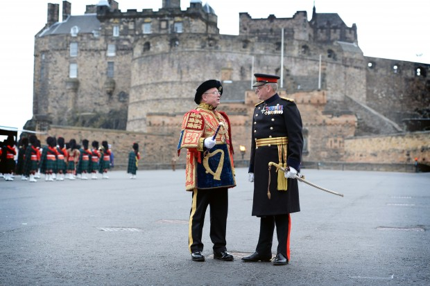 The latest Governor of Edinburgh Castle, Major General Mike Riddell-Webster, chats to Lord Lyon Dr Joseph Morrow on the esplanade of the world famous monument. General Riddell-Webster, a former Regular Army Officer, is the firs member of the Army Reserves to hold the appointment. The Lord Lyon, King of Arms presides over this ancient and historic ceremony.