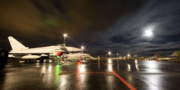 """Description: 1(F) Sqn working during the night while taking part in Exercise Trident Juncture. Royal Air Force squadrons have been participating in the largest NATO exercise since 2002. They formed part of the 36,000 military personnel and 140 aircraft working together on Exercise Trident Juncture 2015 in Spain, Italy and Portugal. In a demonstration to NATO allies that the UK takes its collective defence obligations seriously, the RAF committed two squadrons of fast jets supported by airborne early warning and tanker aircraft to the exercise, developing joint and combined warfare skills with NATO allies and partner nations. Squadron Leader Stu Lawson is the chief planner for all the exercise air activity in Spain. He said: """"This has been NATOs largest live exercise in over a decade. A year in the planning, bringing all the components together, integrating them and deconflicting with other aircraft to safely deliver large scale combined air operations has been a constant challenge. Personally it's been a great deal of responsibility but fascinating to see a plan all come together."""" Crown Copyright"""