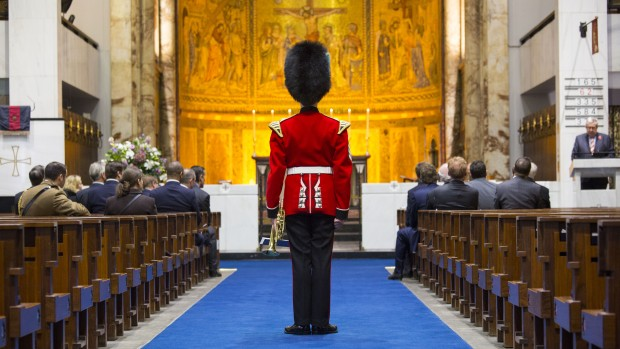 Remembrance service in The Guards Chapel, Wellington Barracks. Crown Copyright