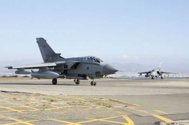 Royal Air Force Tornado GR4s return to RAF Akrotiri after their first mission, since the parliamentary vote to undertake air strikes in Syria.