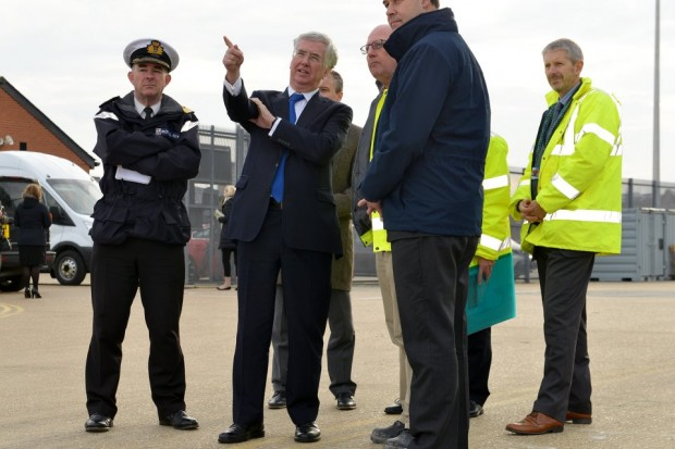 Defence Secretary Michael Fallon in Portsmouth, where he announced a £13.5m shipbuilding contract. Crown Copyright