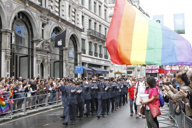 Royal Air Force personnel on parade during the 2014 London Pride event. London Pride is the annual LGBT (Lesbian, Gay, Bisexual and Transgender) Pride March through London, starting at Baker Street and ending at Whitehall Place. Military personnel from all three Services have been granted permission to march in uniform during the event demonstrating the MOD's commitment to equality and diversity. The Royal Navy, Army and Royal Air Force Pesonnel divert out of the main parade and pass the Cenotaph in Whitehall, where a salute is given.