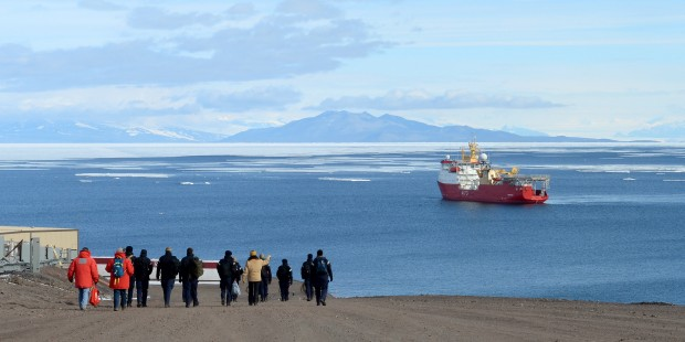 Members of HMS Protector's Ship's Company are shown around the huge base by McMurdo personnel during their visit. After sailing from Christchurch, New Zealand on 3 February, HMS Protector passed through the gales and storms which dominate the southern ocean to reach the US Antarctic McMurdo Base on Ross Island in the Ross Sea. McMurdo base is the largest area of human habitation on the Antarctic continent with approximately 1000 people working there during the summer months. It is also a hub for stores and support to resupply a number of other bases in the region, included the South Pole base and the New Zealand Antarctic Scott base 3km away. HMS Protector sailed from Plymouth in early October, travelling the long way East via the Suez Canal, Oman and Western Australia to Hobart so that she could conduct CCAMLR inspections in the Ross Sea. A recent visit to Christchurch, New Zealand, was very successful to develop liaison with the Antarctic community in the region. The majority of the Austral Summer period will be spent on the Australasia/Pacific Ocean side of Antarctica, an area of the continent that the UK has not had a maritime presence in for nearly 80 years. HMS Protector conducts patrols on behalf of the Foreign and Commonwealth Office, surveys for the Hydrographic Office and provides logistic support to the British Antarctic Survey. The Ice Patrol Ship and her highly trained crew are well equipped to deploy personnel and equipment ashore in order to conduct operations.