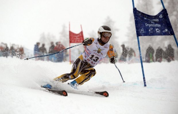 Pictured is a soldier competing in the Giant Slalom Race, one of the events during Exercise Spartan Hike, the regional ski championships run by Force Troops command. Over 550 competitors compete in both Alpine and Nordic disciplines. The Nordic competitors also compete in a patrol race carrying equipment and weapons. Crown Copyright.