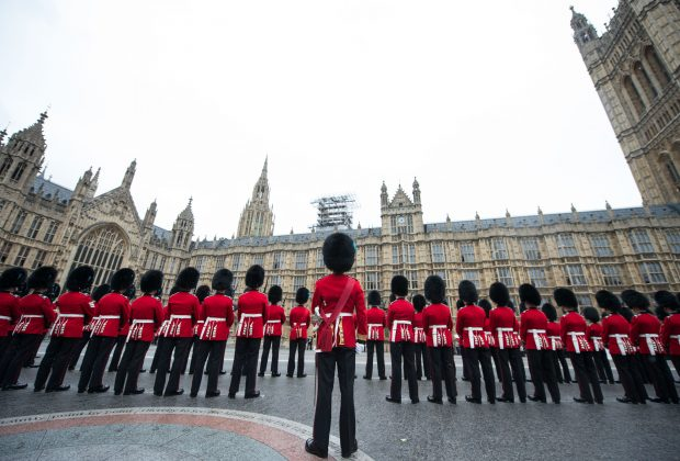 1st Battalion Irish Guards provided a large Guard of Honour at the House of Lords commanded by Lt Col Ian Turner DSO, and accompanied by the Band of the Regiment and the Corps of Drums of the Battalion. The armed forces played a major role in the pomp and ceremony that is part of the State Opening of Parliament, which took place today. In all, 1308 members of the Armed Forces and 217 horses were on public show in a variety of ceremonial roles. The State Opening of Parliament is one of the most colourful events in the London Ceremonial calendar when all elements of the Army's Household Division, and other elements of the Armed Forces, line the streets and escort Her Majesty The Queen's procession from Buckingham Palace to the House of Lords. The State Opening marks the formal start of the next parliamentary session. The primary purpose of this colourful tradition is to set out the government's legislative agenda to both Houses of Parliament in the Queen's Speech. Military units taking part this year were The King's Troop Royal Horse Artillery, the Household Cavalry Mounted Regiment, 1st Battalion Irish Guards, Nijmegen Company Grenadier Guards, Number 7 Company Coldstream Guards, F Company Scots Guards, 1st Battalion Coldstream Guards, Honourable Artillery Company, the Royal Air Force, the Royal Navy, The Royal Artillery Band, Band of the Grenadier Guards, Band of the Coldstream Guards, Band of the Scots Guards, Band of the Irish Guards, Band of the Welsh Guards, with 10 Signal Regiment in support. The Processional Route was by way of The Mall, Horse Guards Road, on to Horse Guards Parade Square, along Whitehall ending at Parliament Street.