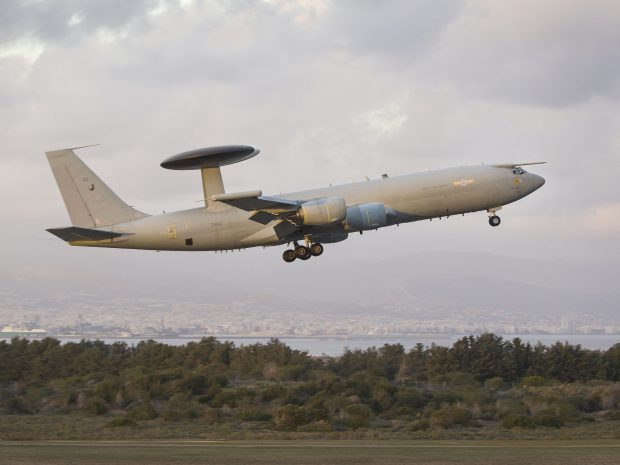 An E3D Sentry aircraft based at RAF Waddington arrives at RAF Akrotiri to provide support to counter Daesh operations.