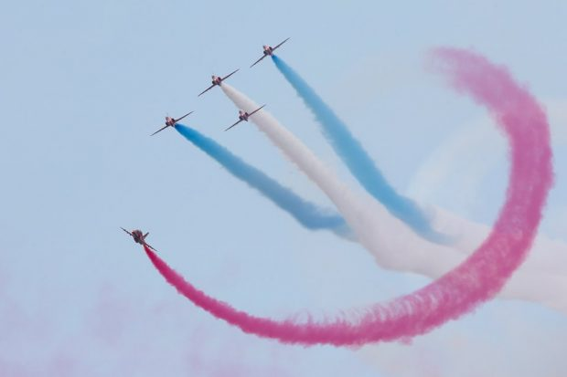 Royal Air Force Aerobatic Team The Red Arrows performing over Cleethorpes for the 2016 Armed Forces Day National Event (AFDNE) at Cleethorpes. Crown Copyright.