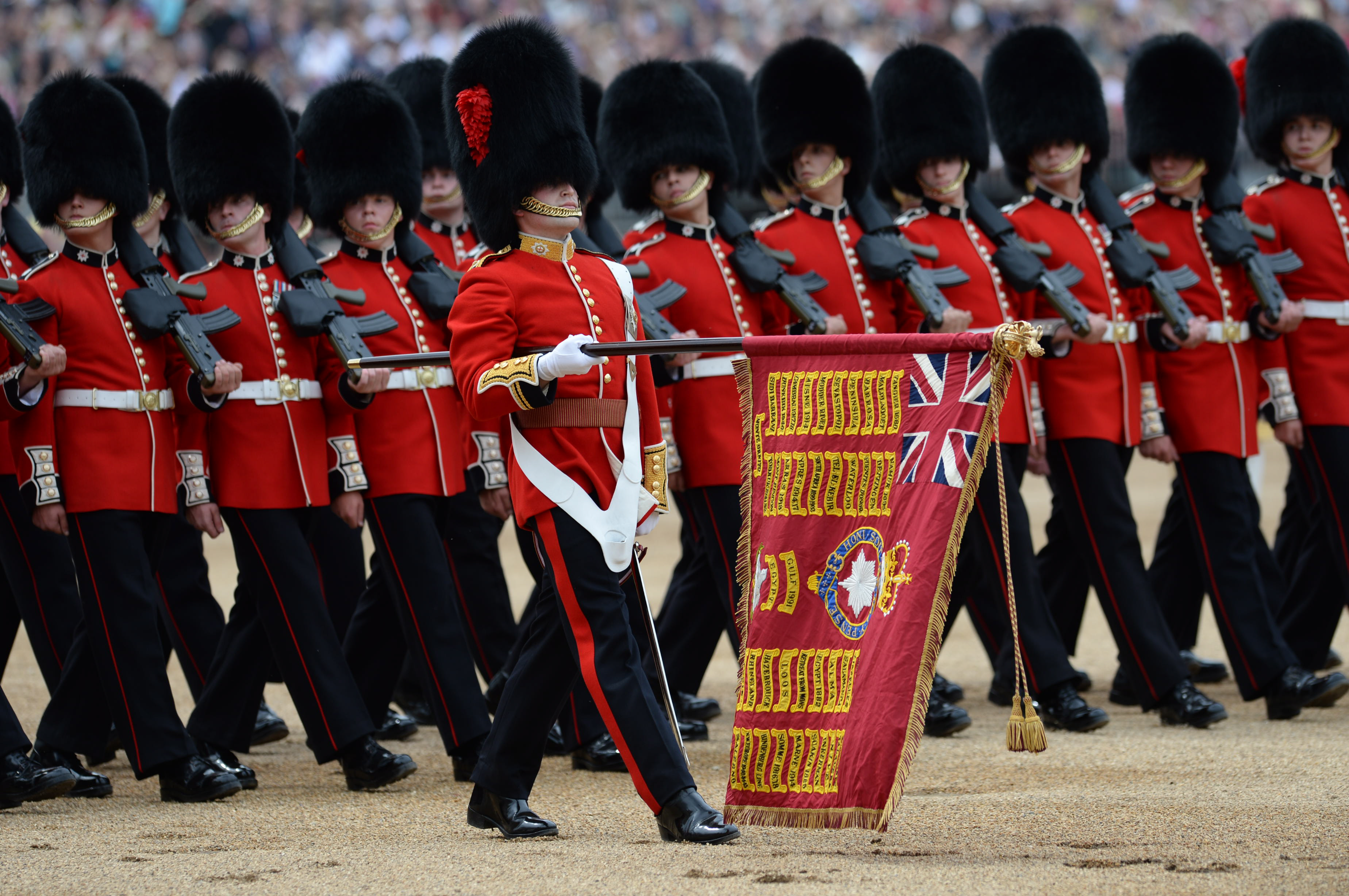 Almost fifteen hundred soldiers from the Household Division were on parade to mark the Queen's Official 90th Birthday on 11th June 2016 on Horse Guards Parade, at the ceremony known as Trooping the Colour. All the Royal Colonels accompanied Her with The Prince of Wales, The Duke of Cambridge, and The Princess Royal also riding on the parade. This year, the Colour being trooped in the presence of Her Majesty The Queen is that of Number 7 Company Coldstream Guards. The Field Officer in Brigade Waiting, Lieutenant Colonel James Thurstan, Coldstream Guards, commanded the Parade. The Soldiers were on parade in their traditional ceremonial uniforms of the Household Cavalry, Royal Horse Artillery, and Foot Guards. The musicians in the Household Cavalry Band and the Drum Majors were in their priceless Gold Coats. There was more than 300 horses on parade, and musicians from all the Household Division Bands & Corps of Drums marched and played as one. The famous Drum Horses of the Household Cavalry Band carrying priceless antique solid silver drums weighing 80lbs each were also on parade.