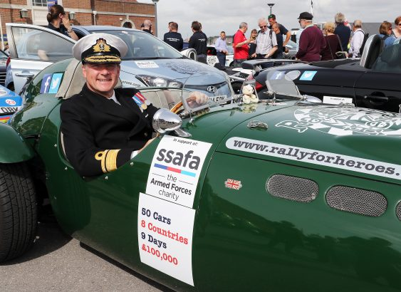 Naval Secretary Rear Admiral Williams in one of the competitors cars.