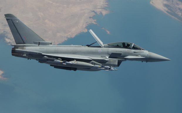 A Typhoon flies over Iraq as part of Op Shader,.