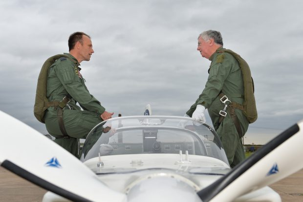 Visit to RAF Cranwell by the Secretary of State for Defence the Right Honourable Michael Fallon MP. He is seen here preparing for a flight in a Grob Tutor training aircraft with 3 Flying Training School.
