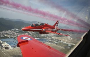 Aviation history was made by the Royal Air Force Aerobatic Team today when the Red Arrows performed a public display in China for the first time. The show takes the number of countries in which the Red Arrows have performed to 57 since 1965 – the team's opening season.