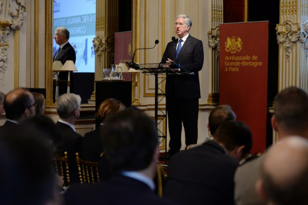 Defence Secretary Sir Michael Fallon speaks at the opening of the Franco-British Council in Paris.