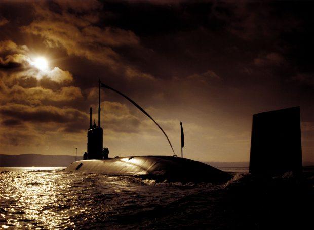 HMS Torbay at sunset