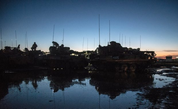 The Royal Dragoon Guards CVT(T) Armoured Fighting Vehicles during a night exercise. The Royal Dragoon Guards (RDG), were the lead Battlegroup for Exercise Iron Strike 2016. Held at the British Army Training Unit Suffield (BATUS), Canada. Crown Copyright.