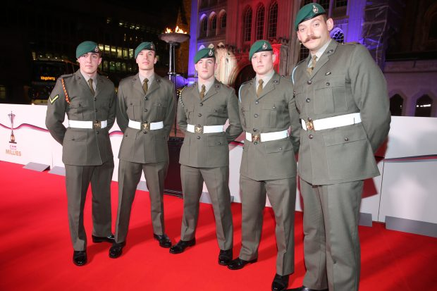 A group of Royal Marines arriving at the Millies Awards at the Guildhall in London. Crown Copyright