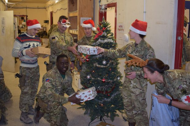 Troops from Operation Shader celebrate Christmas in Iraq.