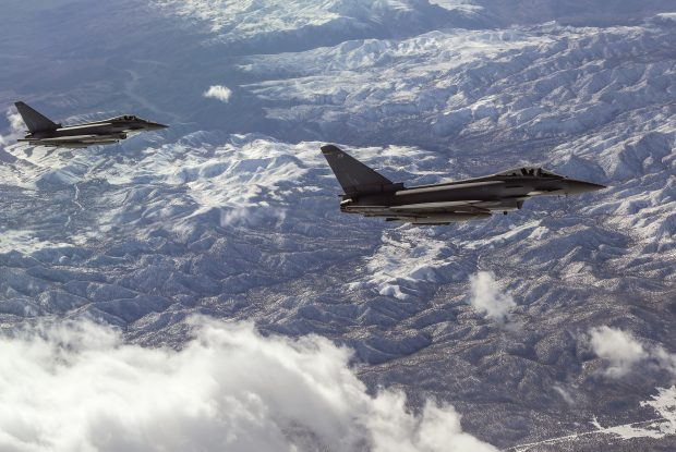 Image shows Typhoons of 6 Sqn patrolling the skies on Exercise Red Flag in Nevada.