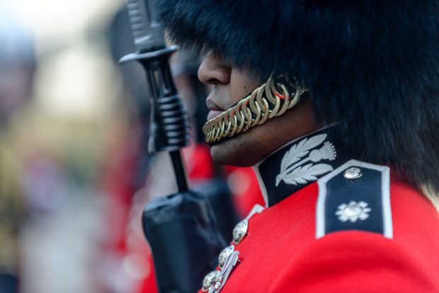 The British Army's Public Duties Incremental Companies and their Bands were subjected to rigorous scrutiny by Major General Ben Bathurst today. The quintessential image of the Foot Guards in their scarlet tunics and bearskins represents the very best of British Pageantry.
