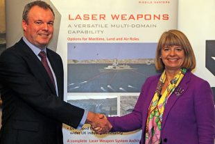 Image of David Armstrong, Managing Director MBDA United Kingdom (left) and Minister for Defence Procurement Harriett Baldwin MP (right).