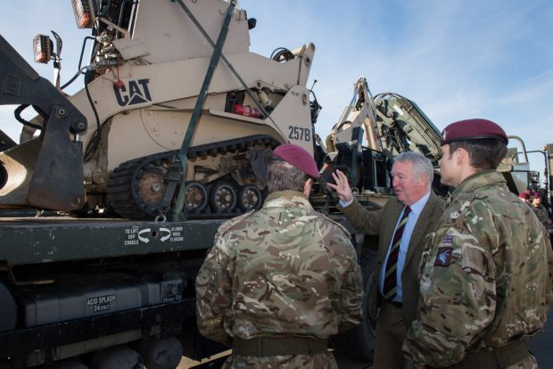 Armed Forces Minister Mike Penning with troops from 16 Air Assault Brigade yesterday