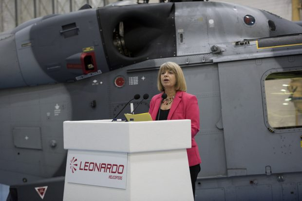 Minister for Defence Procurement Harriett Baldwin MP announces the £271 million deal with Leonardo Helicopters to continue to support Wildcat helicopters.