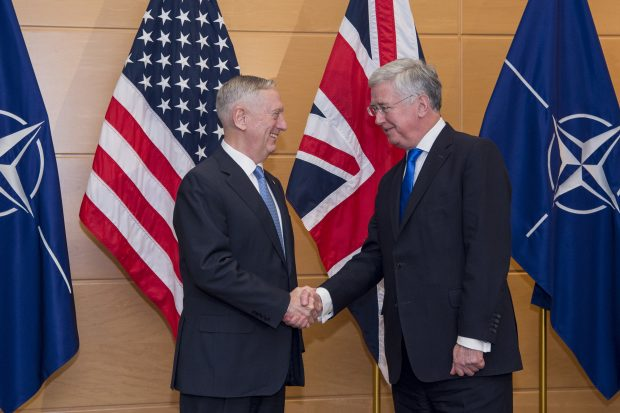 Secretary of Defense Jim Mattis meets with Britain's Secretary of State for Defense Michael Fallon at the NATO Headquarters in Brussels, Belgium, Feb. 15, 2017.