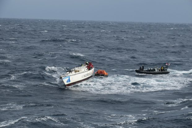 HMS DRAGON RESCUES STRICKEN YACHT