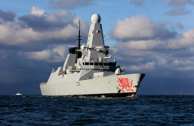 HMS Dragon, which last month took part in efforts to rescue 14 civilians from aboard the Clyde Challenger