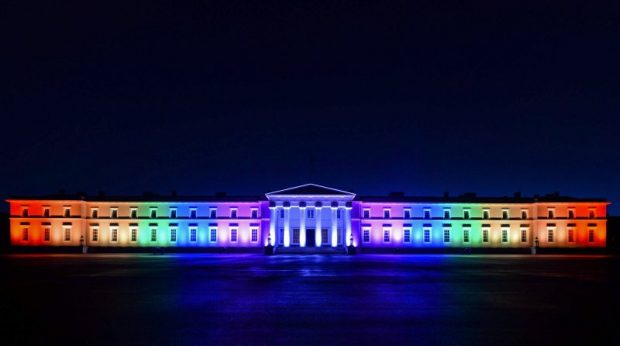 Royal Military Academy Sandhurst with the colours of the rainbow to celebrate the Pride 2016 . Crown Copyright.