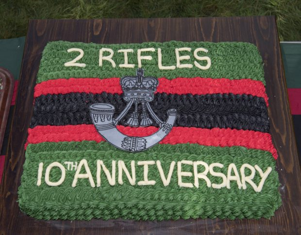 A cake made to celebrate The Rifles' 10th Anniversary on 1 February.