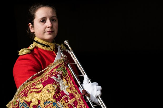 Army Musician Kendall Lewis, 23, trumpeter on the Queen's Life Guard;