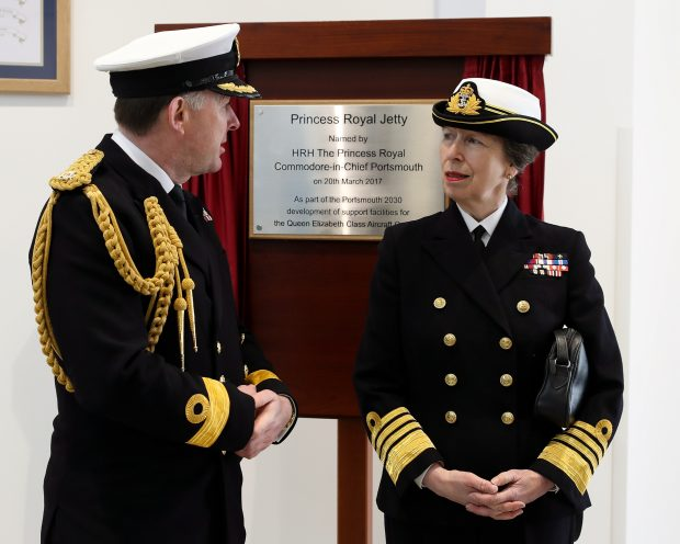 THE PRINCESS ROYAL NAMES NEW JETTY FOR NAVY'S GIANT AIRCRAFT CARRIERS