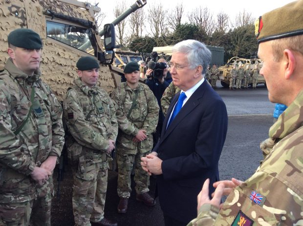 Defence Secretary Sir Michael Fallon visited Edinburgh University's Officer Training Corps, and met soldiers from various Scotland-based British Army units. Crown Copyright.