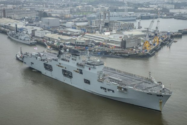 HMS Ocean has returned to Plymouth Dockyard after being deployed overseas. Crown copyright.