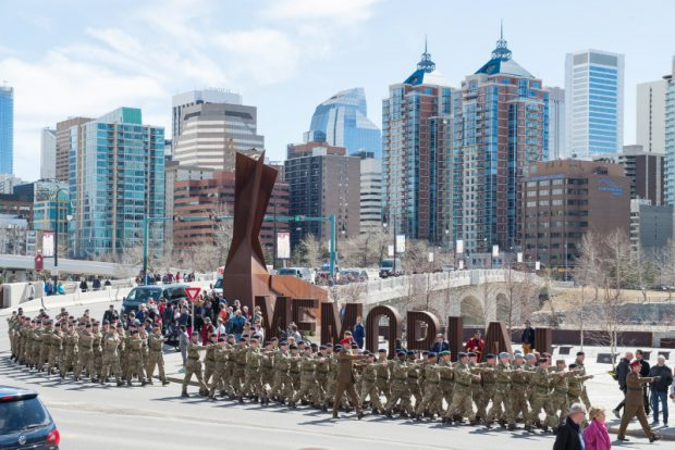 Over 100 British troops are parading with Canadian colleagues in Calgary to commemorate the 100th anniversary of the Battle of Vimy Ridge.